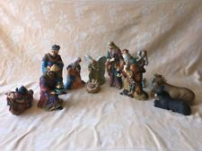 """Vintage Nativity Set Large Some 8"""" To 8.5"""" Tall 13 Pieces Vibrant Colors"""