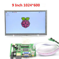 "9"" TFT 1024x600 Blacklit LCD Display Module Board HDMI VGA AV For Raspberry Pi"