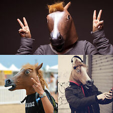 Latex Mask Horse Head Mask Animal HeadCreepy Halloween Costume Theater Party Toy