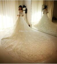 White ivory Lace Wedding Dress Long Sleeve Winter Bridal Gown Custom size 2-24++