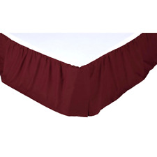 SOLID BURGUNDY TWIN Bedskirt Dust Ruffle Rustic Primitive Red Skirt VHC Brands