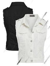 NEW Womens Denim Waistcoat Ladies Jean Gilet Jacket Size 8 10 12 Black White