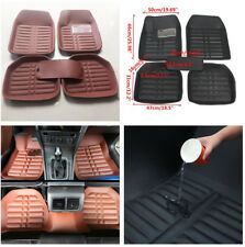 5 Pcs Brown Waterproof Skidproof Car Floor Mats Pedal Design for Driving Safety