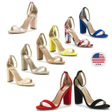 Womens Ankle Strap Open Toe High Chunky Block Heel  Sandal Dress Pump Shoes US