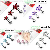 Star Top 316L Surgical Steel Triple Helix Tragus Eat Cartilage Stud Earring 16G