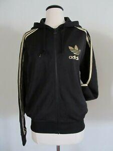 Adidas Women's Hooded Flock Track Top Jacket Full Zip Hoodie M Medium Black Gold