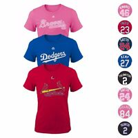 MLB Majestic Player Name & Number Jersey T-Shirt Collection Girl's Size (7-16)