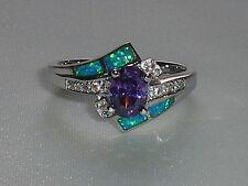 Ladies Art Deco Style Fine 925 Solid Silver Opal Sapphire & Amethyst Dress Ring
