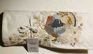 WILLIAMS SONOMA PLYMOUTH TURKEY EMBROIDERED TABLE RUNNER NWT 16X108