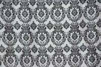 "Flocked Damask Taffeta Fabric 58"" wide, sold by yard"