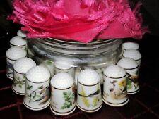 Collectable Vintage Finger Protector Sew Thimbles Fine Porcelain Floral-Bird