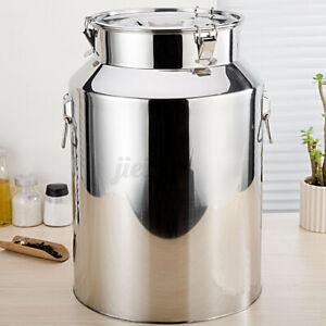 50L Stainless Steel Milk Can Wine Pail Bucket Jug Oil Barrel Lid Bottle Canister