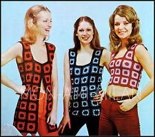 """Vintage Crochet Pattern * Granny Squares * Tank Top * Tunique * Gilet * 32-36"""""""