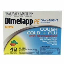 * DIMETAPP PE DAY AND NIGHT 48 CAPSULES COUGH COLD FLU DECONGESTANT NON-DROWSY