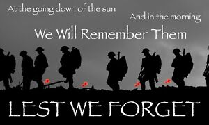 LEST WE FORGET FLAG | 5ft x 3ft | REMEMBRANCE DAY POPPY | MILITARY ARMED FORCES