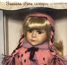 Collectors Choice Genuine Fine Bisque Porcelain Doll Pink Sweater Purple Skirt