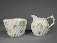 Group of 2 English Aynsley Green Clover Decor Creamer & Cup ca. 20th century