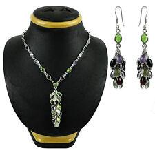 Necklace Earring Set Garnet Peridot Amethyst Rainbow Moonstone Sterling Silver