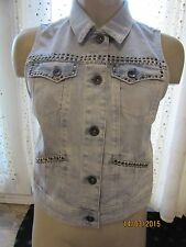 BNWT TopShop Denim Jacket Size 10 Sleeveless Light Blue Gillet Stud Dress Up