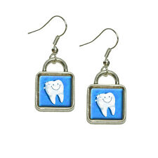 Drop Square Charm Earrings Happy Tooth Dentist Dangling