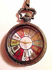 Antiqued ROULETTE WHEEL Open Face Bronze Pocket Watch with Fob or Necklace