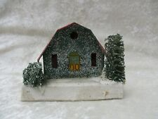 Vintage Japan Card Board Christmas Putz Green House w/Mica Glitter & Loofah Tree