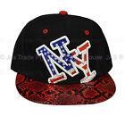 Snapback Snap Back Flat Peak Brim Baseball Cap Hat American Flag NY NEW YORK