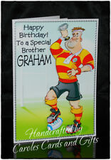 PERSONALISED BIRTHDAY CARD NAME/AGE SPORT/RUGBY/DAD/SON/BROTHER/MALE