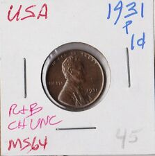 USA 1931-P | LINCOLN WHEAT CENT Penny | PRFL CH UNC