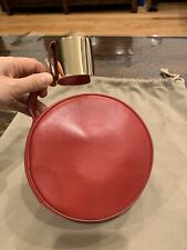 NWT Authentic Perrin Paris Le Rond Cuff red Lambskin Leather Clutch $1200