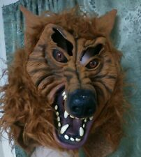 Vintage Halloween Werewolf Mask Wolf Monster Latex Fake Fur Scary Creepy Horror