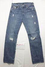 Levi's 501 con rotture customized usato (Cod.Y602) Tg.47 W33 L36 jeans Boyfriend
