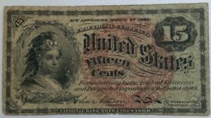 1863 US Fractional 15 Cent Currency Note Fourth Issue w/Watermark