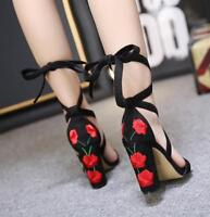 Womens Embroidered Floral Lace Up Strappy platform Sandal Block High heels Shoes