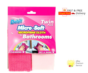 2 Packs of 2 Duzzit Microfibre Bathroom Cloths Baths Showers Sink Tiles 4 Cloths