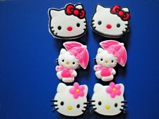 9ba9906cf36a8 JIBBITZ CLOG SHOE CHARM PLUG 6 HELLO KITTY FIT ALL HOLES CROCS WRISTBAND  FITBIT
