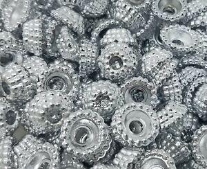 Lot De 100 Argent Plastique Couronne Anneaux Perle Capuchons Colliers Artisanat