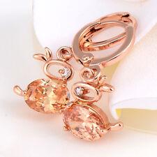 Lucky Cute Rabbit Crystal Rose Gold Filled Drop/Dangle Hoop Earrings Vintage