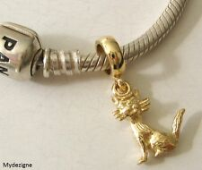 GENUINE SOLID 9K  9ct YELLOW GOLD CHARM BEAD with 3D CAT DROP ANIMAL