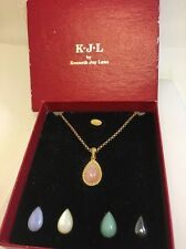 K.J.L. By Kenneth Jay Lane Interchangeable Stone Pendant Necklace Orig Box