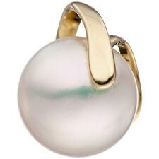 NEU 585er Luxus Perlen Anhänger echt Gold 585 Gelbgold Kettenanhänger Süßwasser