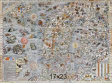 1539 Carta Marina Olaus Magnus Map of the Sea Scandinavia Wall Poster Antique
