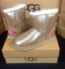 UGG AUSTRALIA SHINY CLASSIC MINI ZIP BREAST CANCER CHESTNUT BOOTS LTD ED US 7