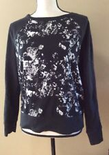 Converse One Star Graphic Black White Paint Print Pullover Sweatshirt Womens L