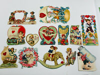 Antique vtg Valentines 29 Lot of (13) Embossed Diecut German Cards