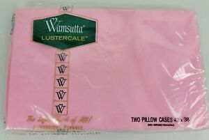 Vintage NIP Wamsutta Lustercale Percale Pink Pillow Cases 42x38