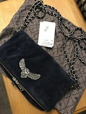 Zadig & Voltaire Clutch Navy Suede MUST SEE W Tags Fast FREE Ship