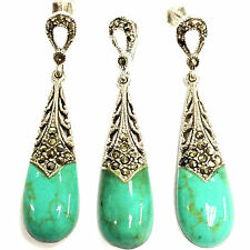 Sterling Silver 925 Art Deco Turquoise & marcasite Droplet Earrings Pendant Set