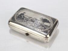 Antique Russian Niello 84 Silver Box W Horse and Sleigh w Driver - Zolotnik SL