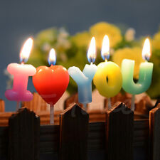 """""""I Love You"""" Letter Toothpick Cake Candle Birthday Wedding Anniversary Candle"""